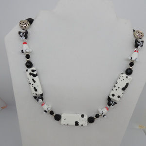 "21-22"" Black/ White Dog and Silver Heart Necklace"